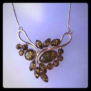 GENUINE GREEN AMBER IN STERLING SILVER CHAIN. 16""